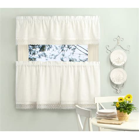 macrame kitchen tier and valance set set of 2