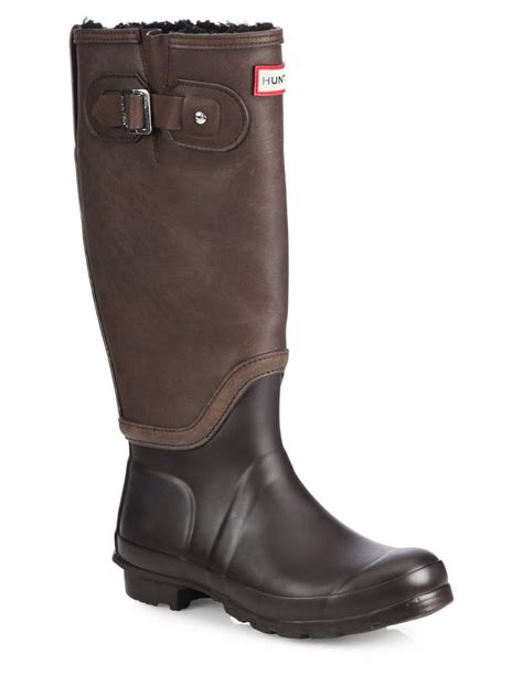 shearling leather rubber knee high boots in brown