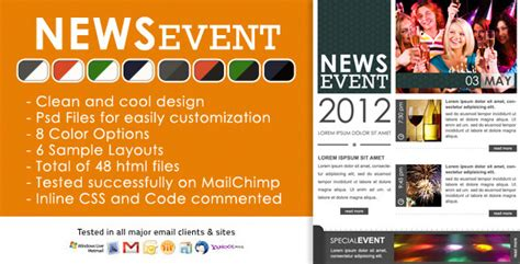 20 Beautiful Events Production Website Templates Wordpress Themes Upcoming Events Newsletter Template