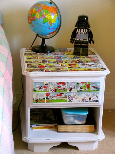 Decoupage Bedside Table - jumble tree decoupage comic though not always