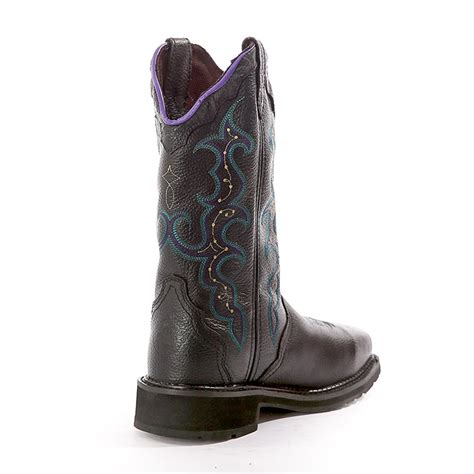 justin womens stede black leather work boot