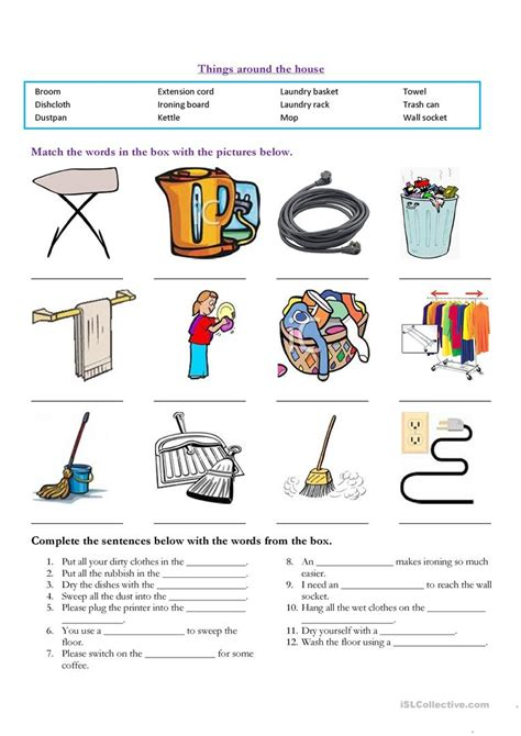 everyday use worksheet household items worksheet free esl printable worksheets made by teachers