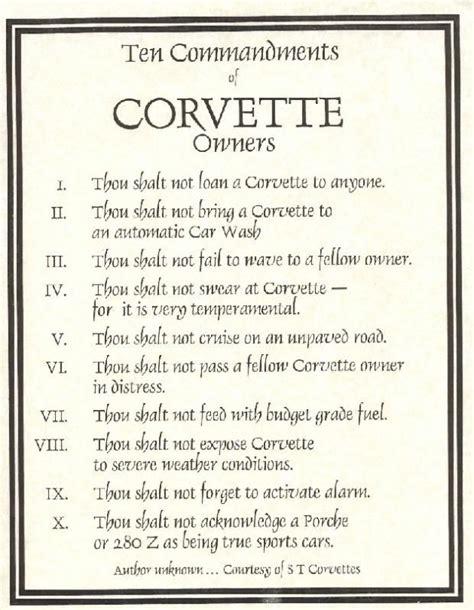 corvette 10 commandments snow dr