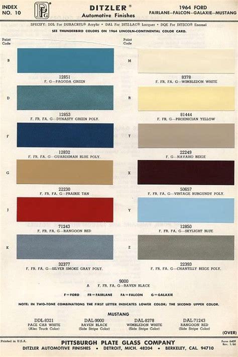 1966 mustang color chart original colors of mustang 1964 mustangs