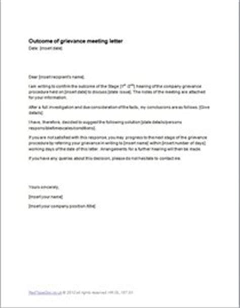 outcome of grievance meeting letter template exle