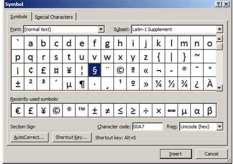 section symbol keyboard shortcut buckeye legal tech assign a shortcut key to the section