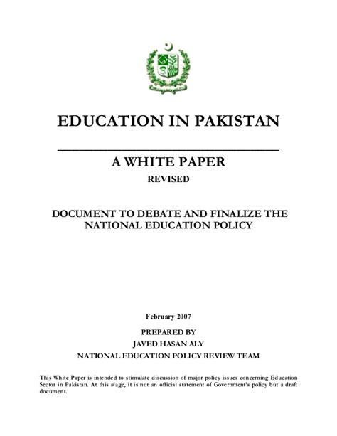 thesis on education in pakistan pakistan education policy