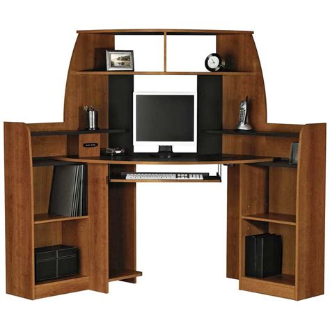 Corner Computer Desk With Double Storage Furniture Corner Computer Desk Plans