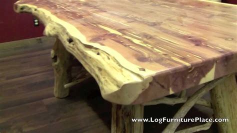 tables made from logs cedar log dining table from logfurnitureplace com