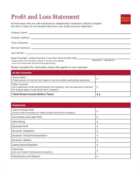 Sle Profit And Loss Form 9 Free Documents In Pdf Home Business Profit And Loss Statement Template