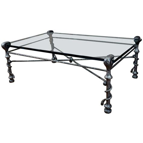 Iron And Glass Coffee Table Hammered Wrought Iron And Glass Coffee Table 20th Century At 1stdibs