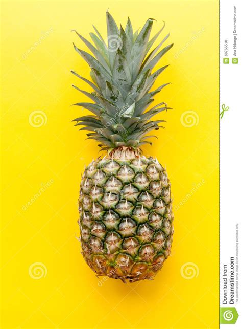 Yellow Pineapple L by Pineapple On Solid Yellow Background Stock Photo Image
