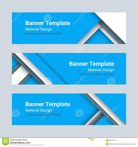 material design header image set of modern colorful horizontal vector banners in a