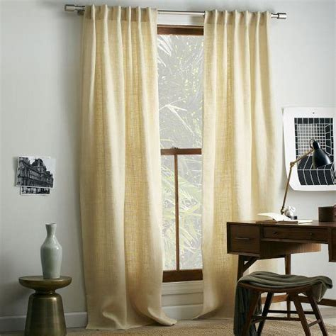 burlap window curtains burlap curtain ivory west elm