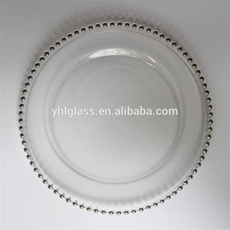 glass beaded charger plates wholesale 13 quot inch clear glass plate with coloured white beaded