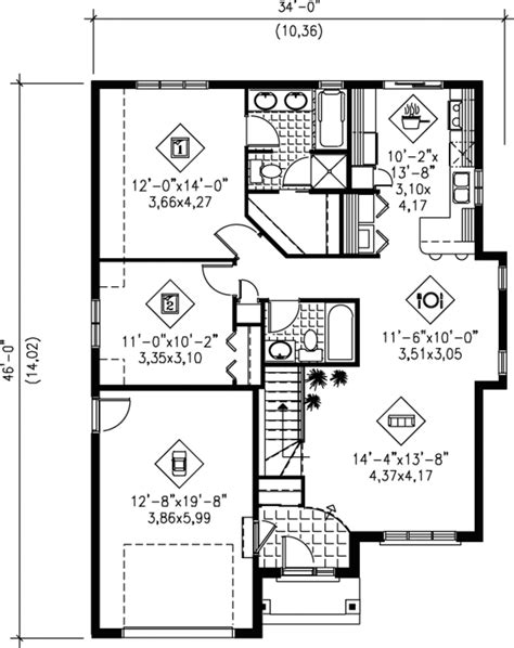 1100 square feet traditional style house plan 2 beds 2 baths 1100 sq ft