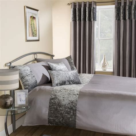 silver curtains and bedding amalfi silver crushed velvet quilt duvet cover