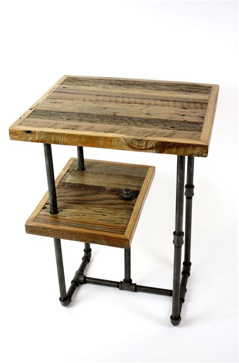 Industrial Side Table Crafted Galvy Industrial Side Tables Reclaimed Wood Nightstands By Mfeo Custommade