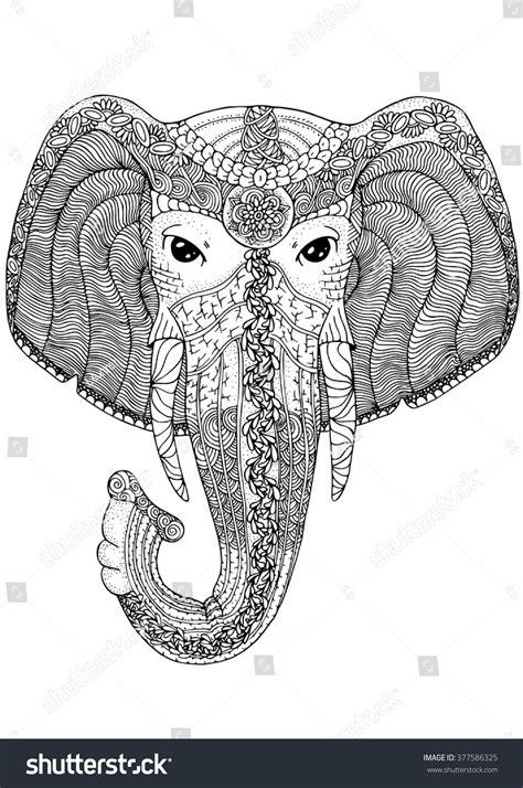 pattern elephant head drawing 100 coloring animal book page adults panda