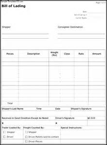Bill Of Lading Form Template by Bill Of Lading Form Template Sle Templates