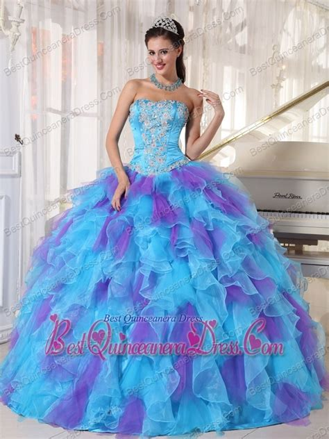 baby blue and purple gown strapless floor length