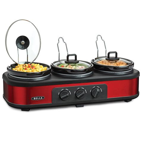 Bella 13698 Red And Black Triple Slow Cooker Buffet Cooker Buffet