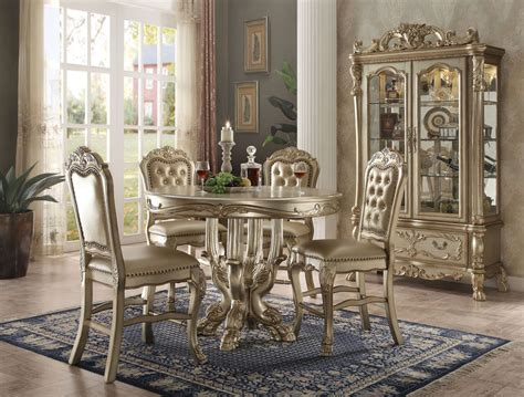 dresden gold patina 5pc bedroom set king dresden 5 piece counter height dining set in gold patina