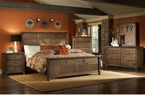 warm rustic finish traditional bedroom w panel bed options
