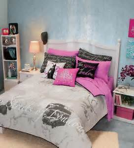 Girls teens gray pink white black london comforter bedding set ebay