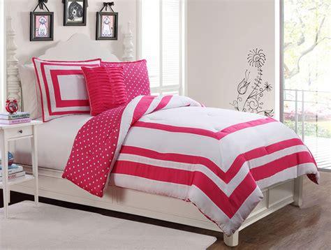 3 piece hotel juvenile reversible polka dot comforter set pink
