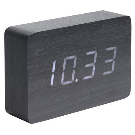 minimalist alarm clock karlsson wood block alarm clock date and temperature