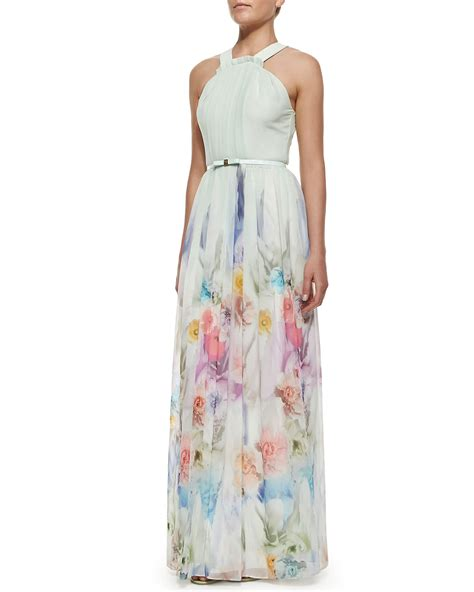 Taypia Flowery Maxi Dress ted baker beula floral print pleated maxi dress lyst