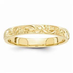 engraved floral wedding band ring 14k gold