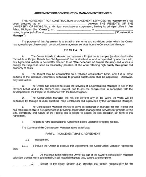 sle service agreements management services agreement template 28 images