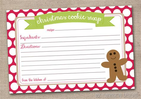 cookie exchange recipe card template printable cookie exchange recipe by