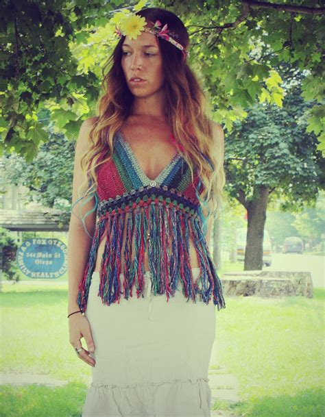 Peace Fringe Top rainbow peace festival top with fringe by goldenhandsdesign