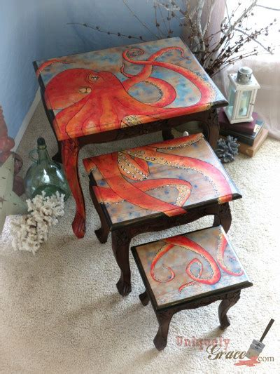 chalk paint nest of tables three nesting tables and an octopus