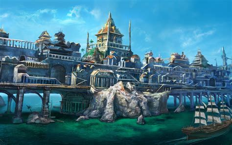 wallpaper abyss fantasy city town full hd wallpaper and background image 2560x1600