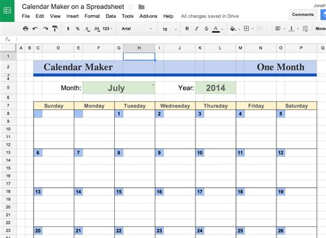 2017 Monthly Calendar Template Google Sheets