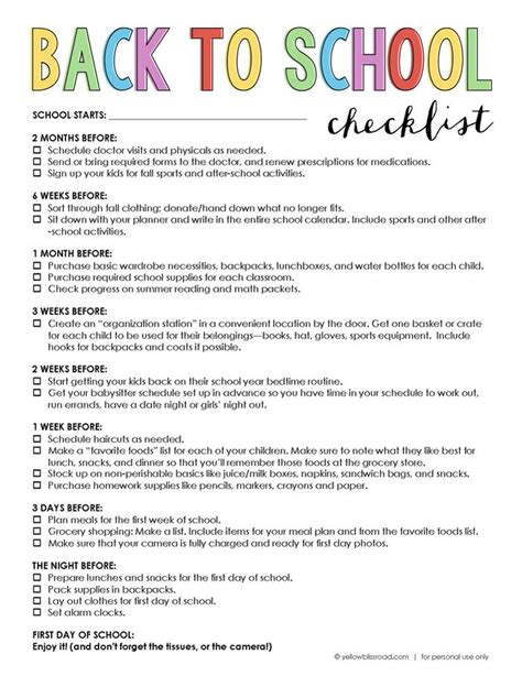 list of days before day free printable back to school checklist school checklist