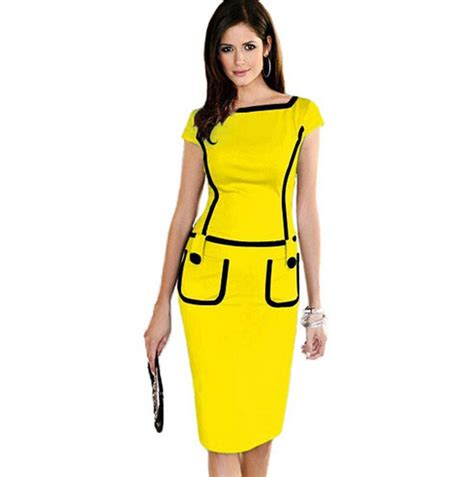 professional work dresses for women 2016 light blue new retro dress solid slim large size of