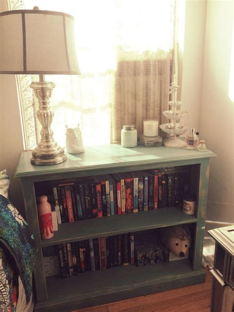 bookcase as nightstand guest bedroom