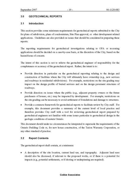 Geotechnical Investigation Report Template Report Template