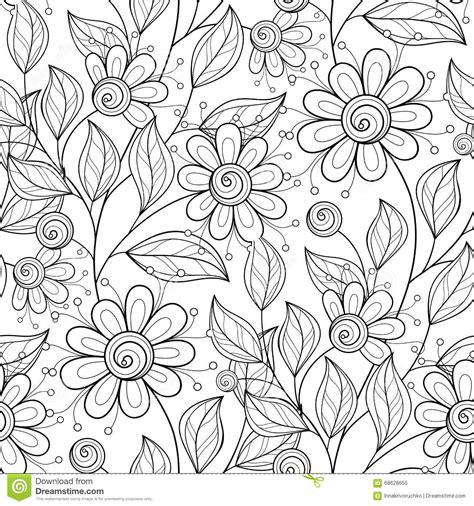 seamless pattern monochrome vector seamless monochrome floral pattern stock vector
