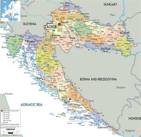 a map political map of croatia ezilon maps