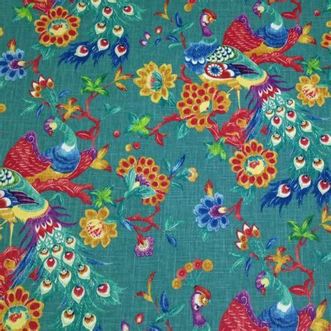 bird drapery fabric preen peacock blue linen blend floral bird drapery fabric