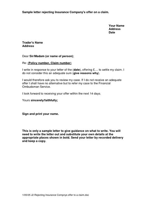 Insurance Refund Letter Template sle letter to insurance company for refund sle