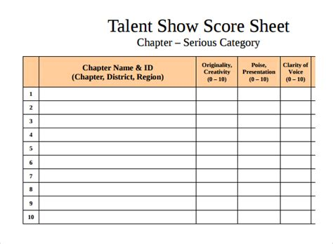 Sample Talent Show Score Sheet   9  Documents in PDF