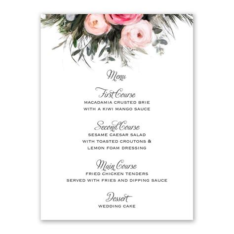 Wedding Lunch by Ethereal Garden Menu Card Invitations By