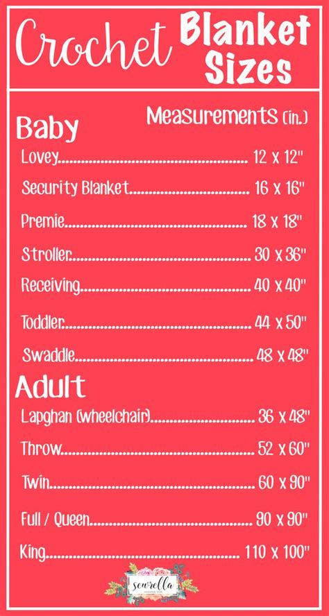 the complete list of crochet blanket sizes free chart from sewrella sewrella pinterest